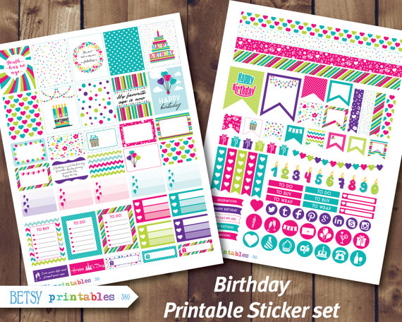 birthday planner stickers printable ; il_570xN