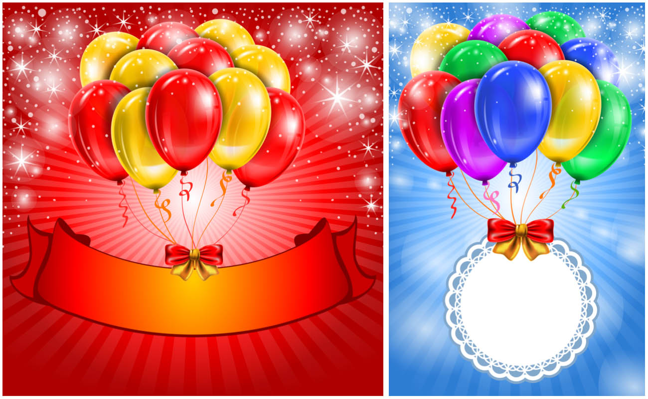 birthday poster design template ; Cards-with-air-balloons-vector
