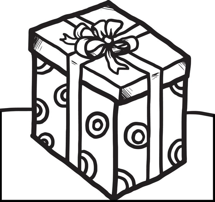 birthday present coloring page ; 4201-christmas-present-coloring-page-border