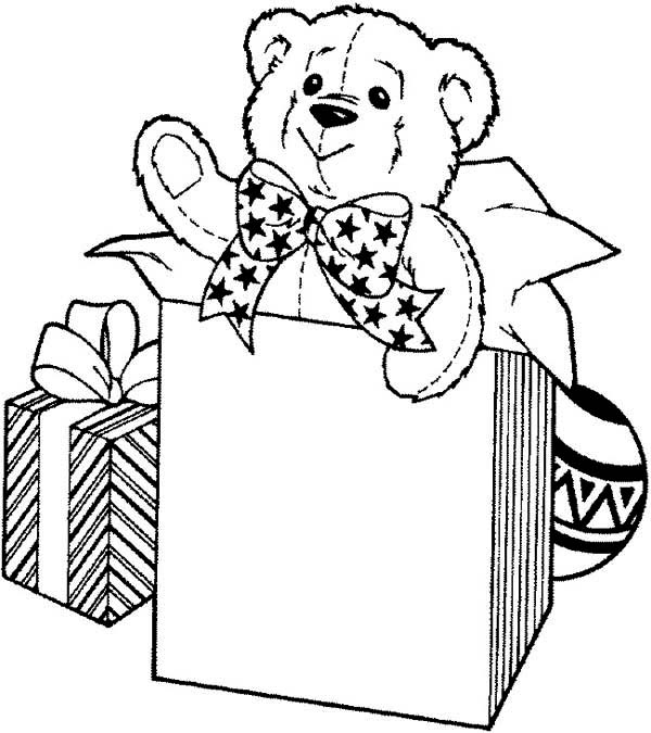 birthday present coloring page ; Teddy-Bear-for-Birthday-Present-Coloring-Page