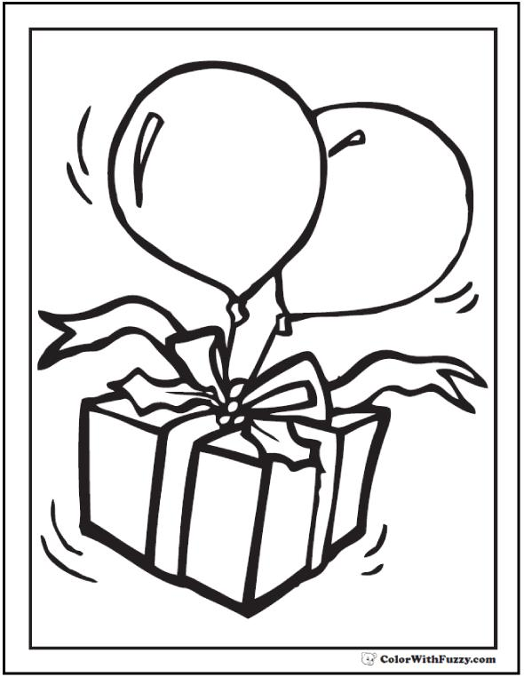 birthday present coloring page ; cute-birthday-coloring-pages