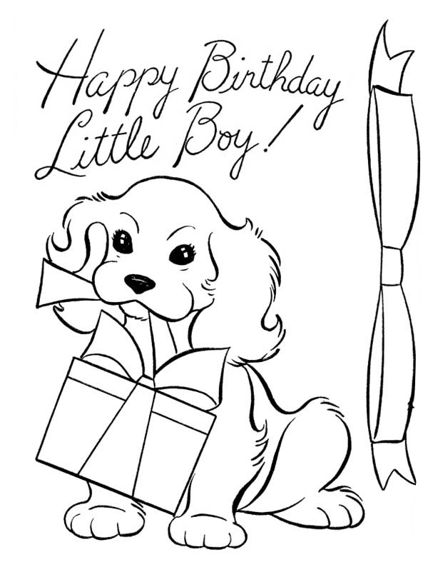 birthday present drawing ; A-Dog-and-Happy-Birthday-Present-Coloring-Page