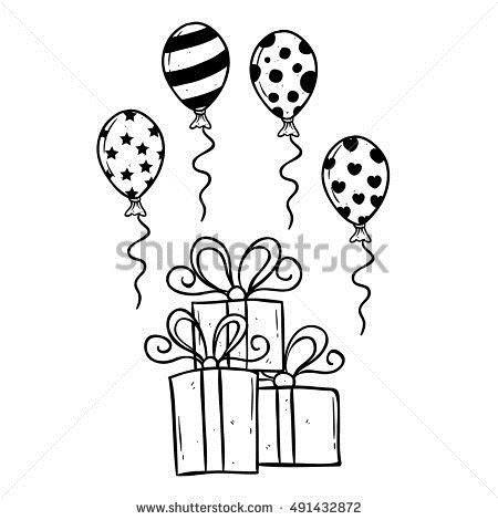 birthday present drawing ; stock-vector-hand-drawing-birthday-gift-with-balloon-and-outline-491432872