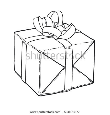 birthday present drawing ; stock-vector-wrapped-christmas-birthday-present-tied-with-a-bow-line-hand-drawing-isolated-for-coloring-534678577