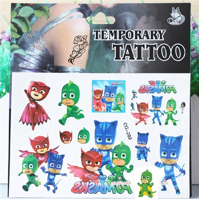 birthday present stickers ; 4PCS-lot-temporary-tattoo-sticker-of-PJ-MASKS-stickers-for-children-party-present-kids-birthday-present
