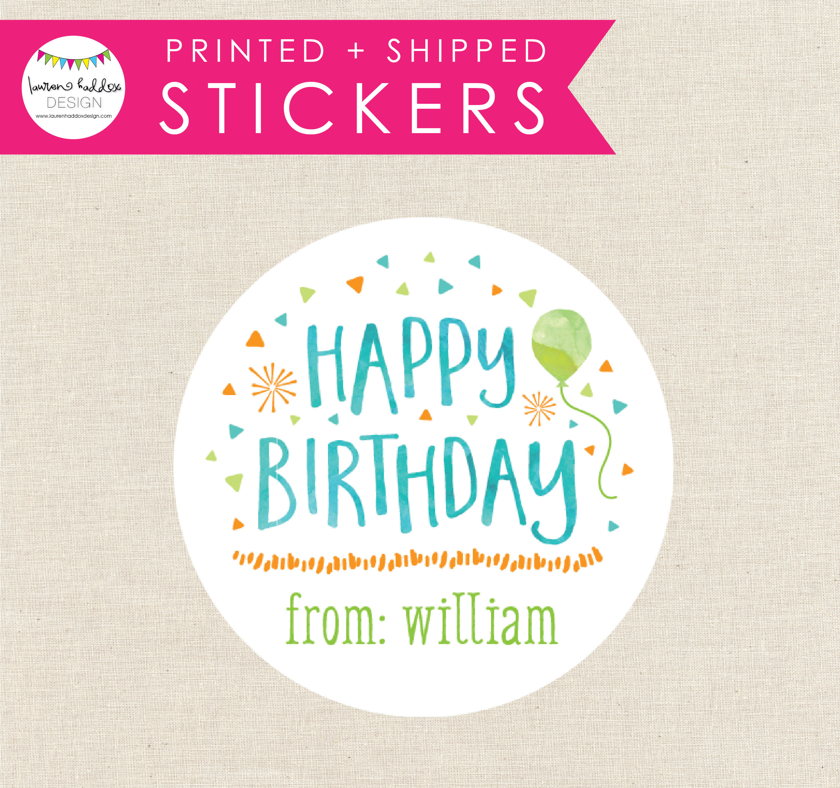 birthday present stickers ; il_fullxfull