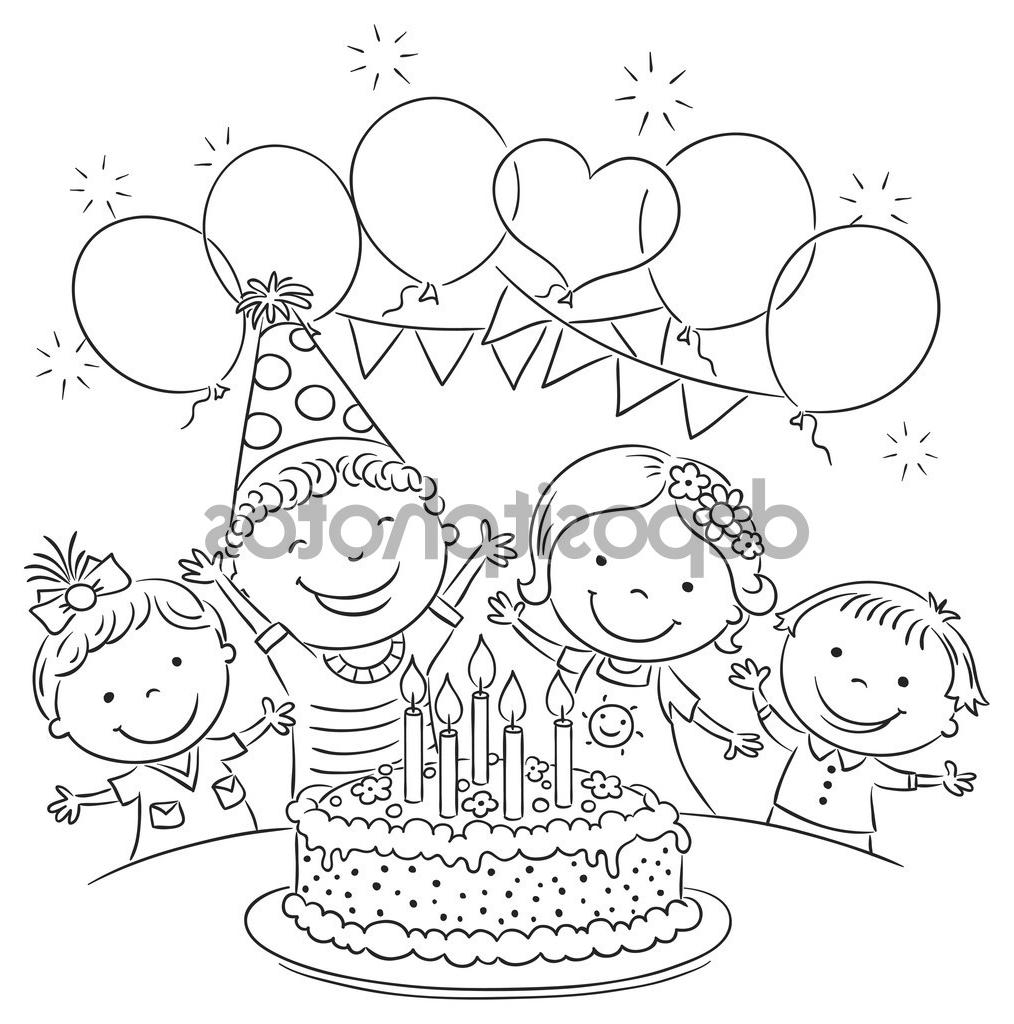 birthday scene drawing ; birthday-party-scene-for-drawing-top-10-stock-illustration-kids-birthday-party-outline-image