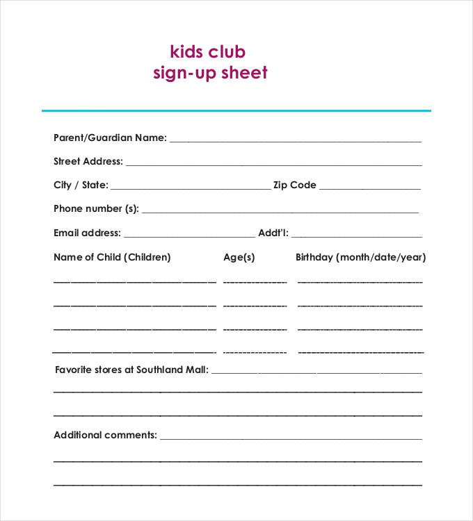 birthday sign up sheet template ; Kids-Club-Sign-Up-Sheet