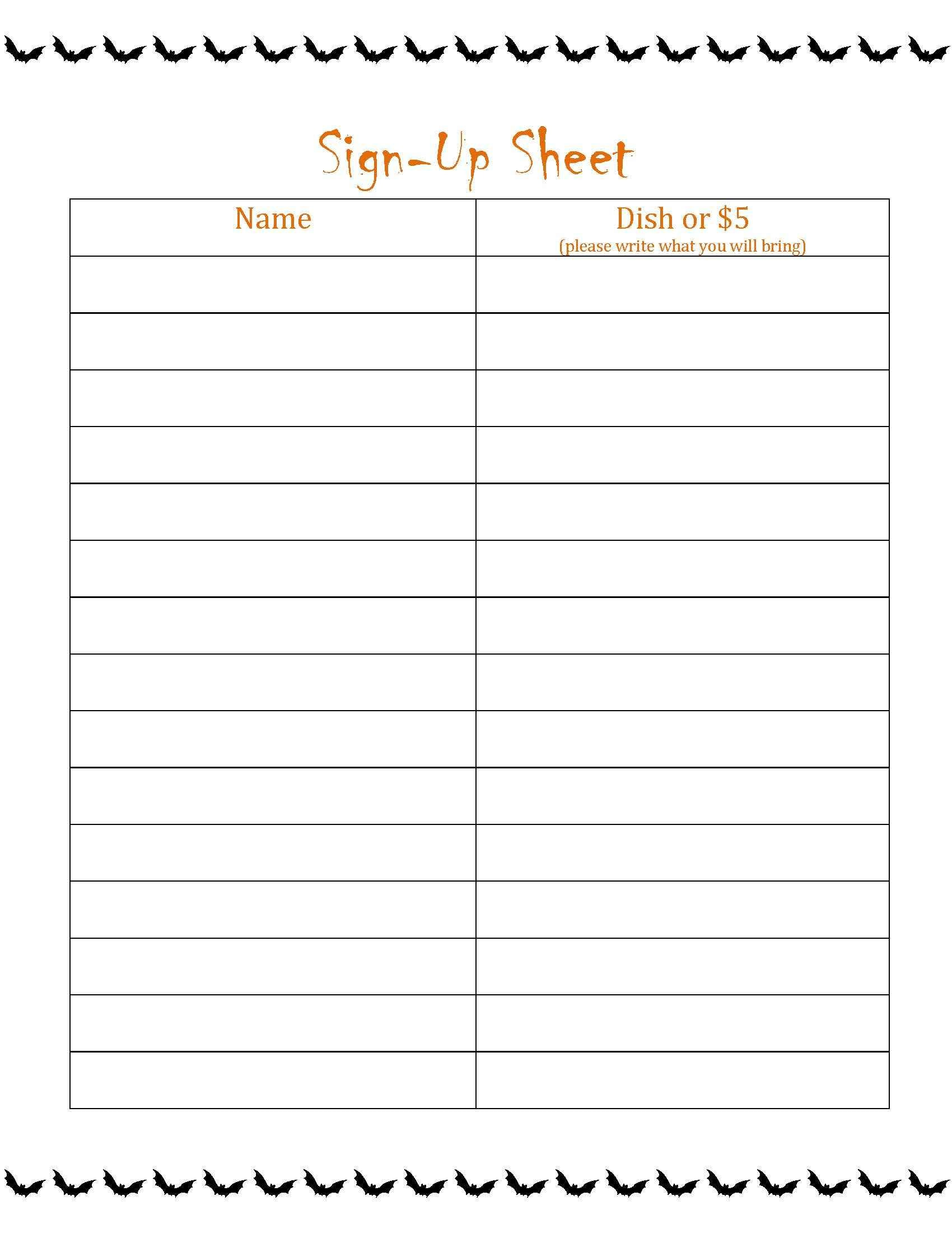 It is an image of Printable Potluck Sign Up Sheets intended for halloween potluck