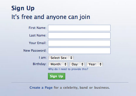 birthday sign ups ; facebook