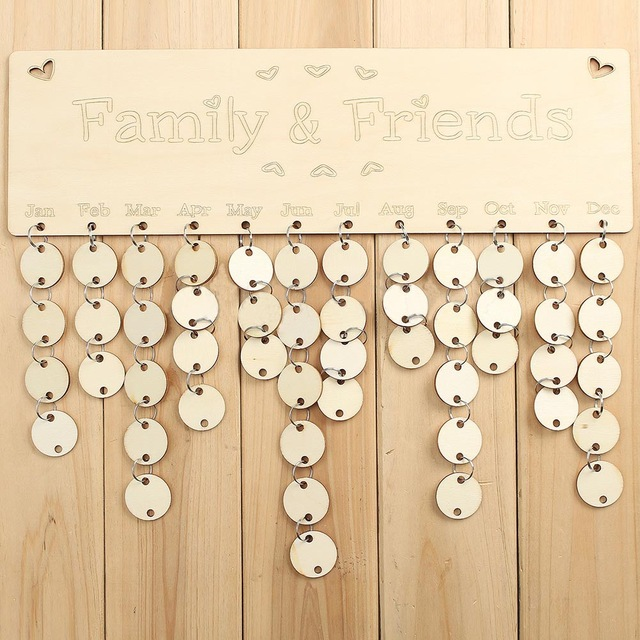 birthday sign with tags ; Fashion-Home-Hanging-Decoration-Wooden-Sign-Board-DIY-Calendar-Tags-Family-Friends-Birthday-Reminder-Plaque-Gifts