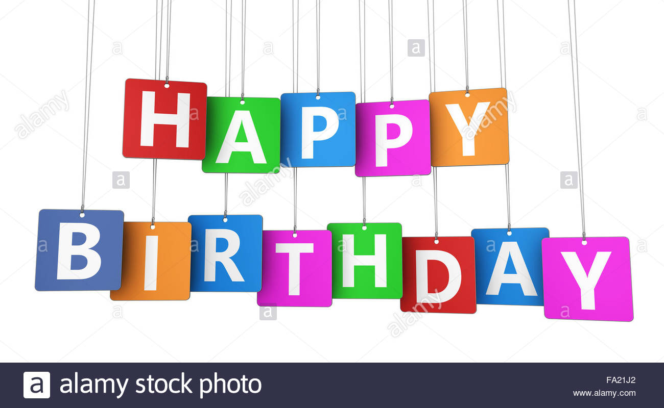 birthday sign with tags ; happy-birthday-sign-on-colorful-tags-concept-with-word-and-letters-FA21J2