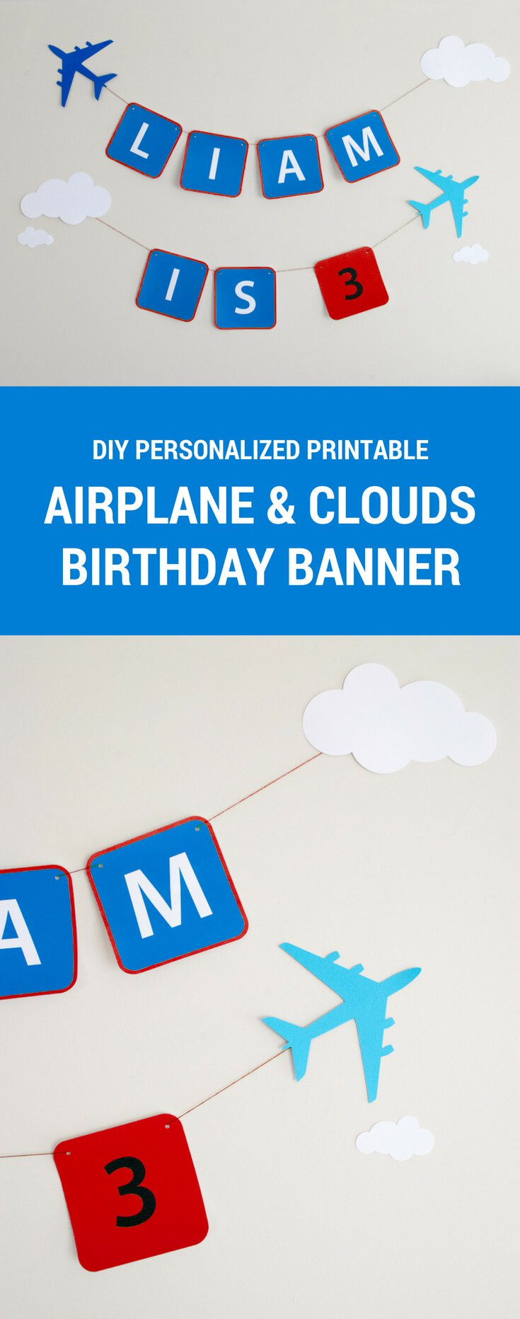 birthday signage ; red-printable-airplane-banner-pin