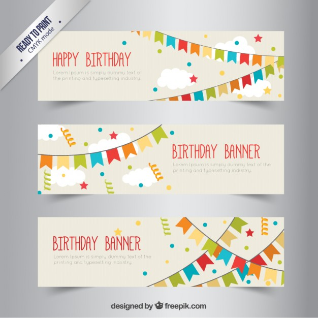 birthday signage design ; birthday-banners-with-bunting_23-2147515534