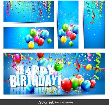 birthday signage design ; birthday_banners_with_color_balloon_vector_577492