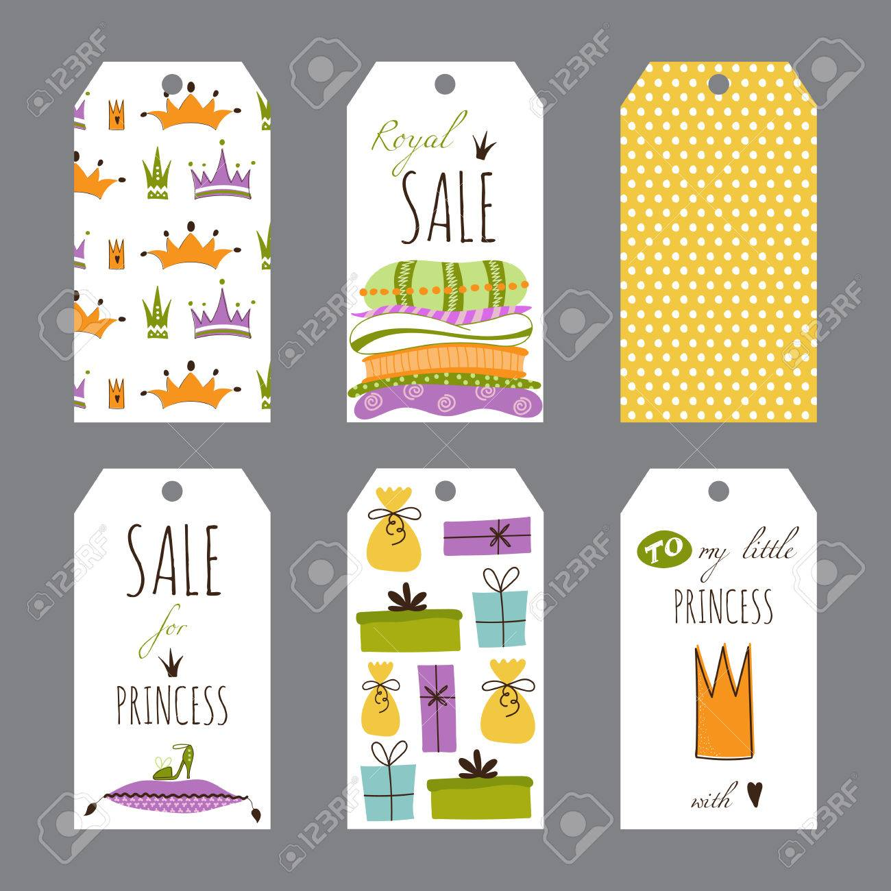 birthday souvenir tags template ; 56198431-vector-princess-party-set-of-tag-templates-cute-collection-for-birthday-greeting-cards-brochures-tag
