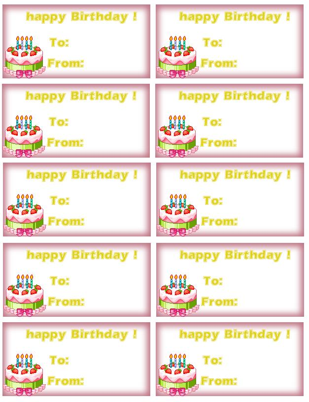 birthday souvenir tags template ; Birthday-Labels-Template-Free-1