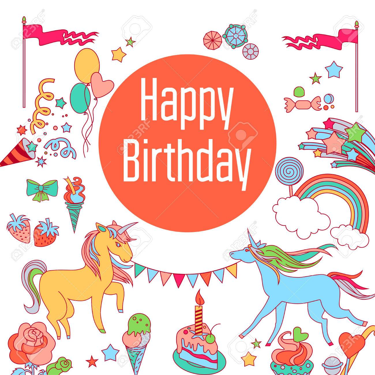 birthday sticker design ; 80489819-hand-drawn-elements-rainbow-unicorn-cloud-stars-flag-for-patches-stickers-design-cards-and-leaflets-
