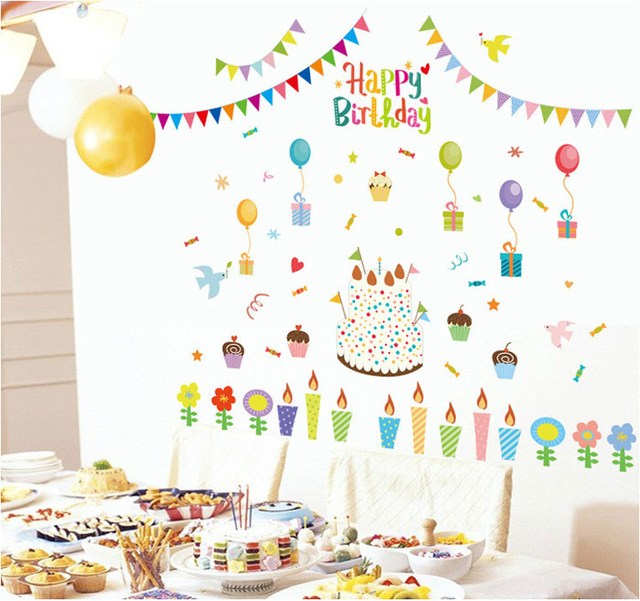 birthday sticker design ; Fundecor-diy-home-decor-new-design-happy-birthday-holiday-wall-sticker-candy-candle-cake-decoration