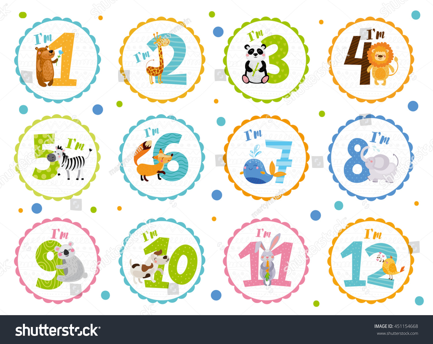 birthday sticker design ; stock-vector-cute-birthday-stickers-with-animals-for-babies-451154668
