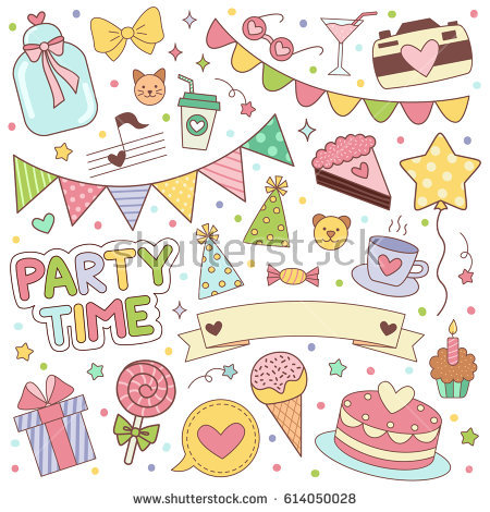 birthday sticker design ; stock-vector-happy-birthday-stickers-set-vector-illustrartion-for-scrapbooking-and-decoration-planning-diary-614050028
