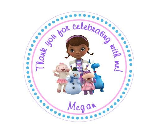 birthday sticker tags ; 2862b6a44d756f605efb3b0e4ac4e478--thank-you-stickers-doc-mcstuffins-birthday