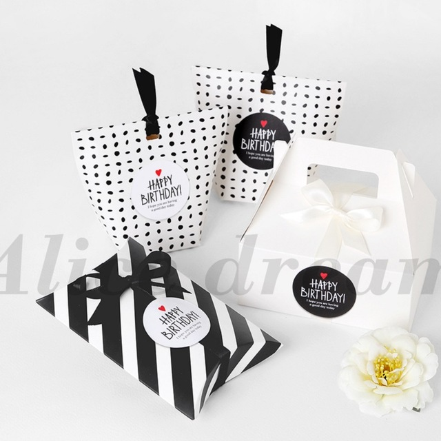birthday sticker tags ; Happy-Birthday-Sticker-120pcs-black-white-simple-fashion-Stickers-as-Food-Tags-Labels-Gift-Tag-Home