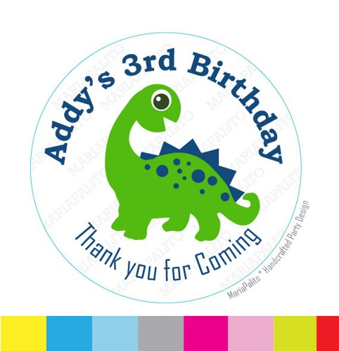 birthday sticker tags ; dinosaur_sticker_thanks_for_coming_to_my_birthday_party_birthday_stickers_printed_round_stickers_tags_labels_a983_faafe58a