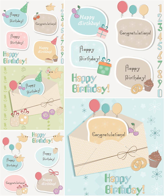 birthday sticker tags ; happy-birthday-labels-vector