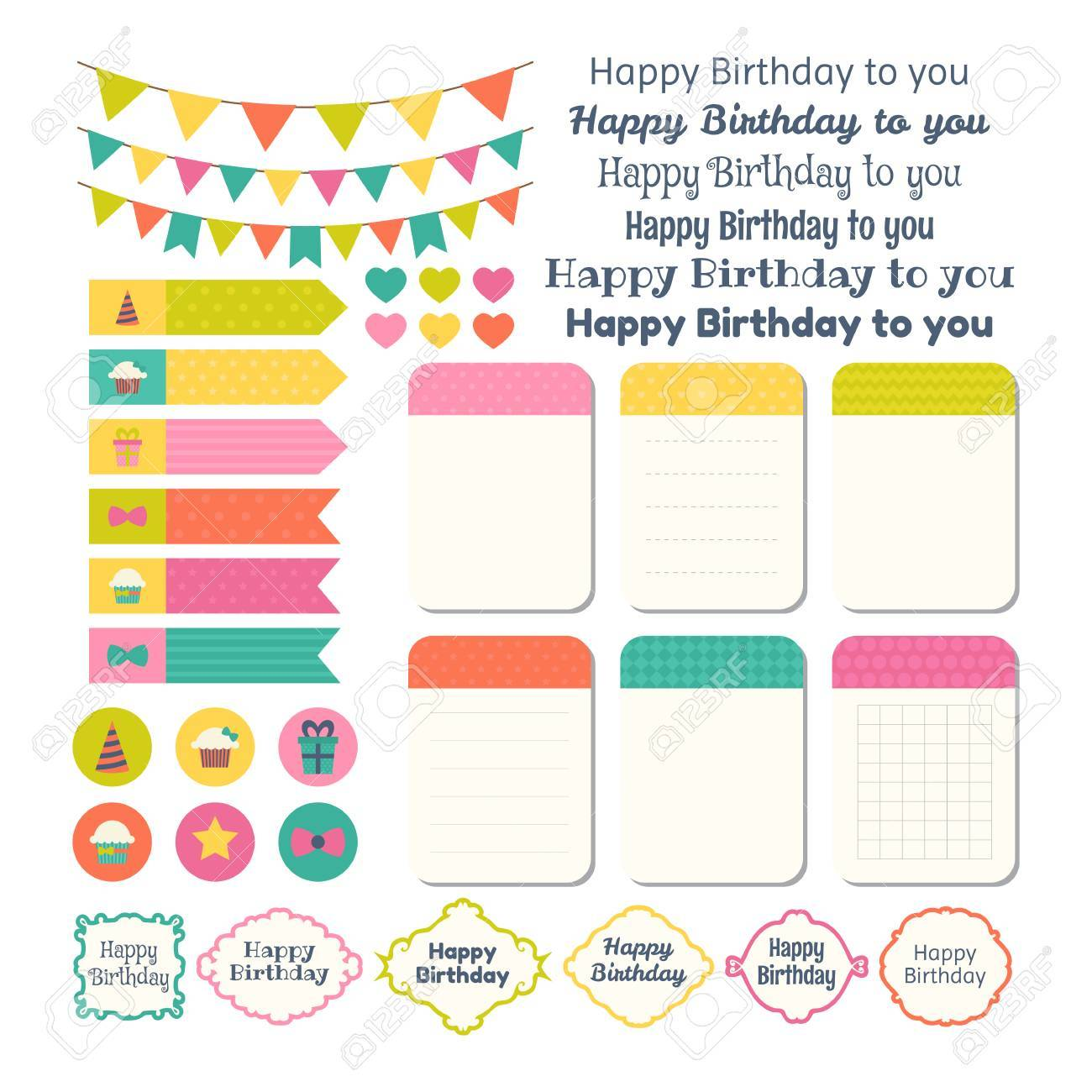 birthday sticker template ; 68722096-set-of-birthday-party-design-elements-template-for-notebooks-monthly-planner-notes-stickers-labels-v