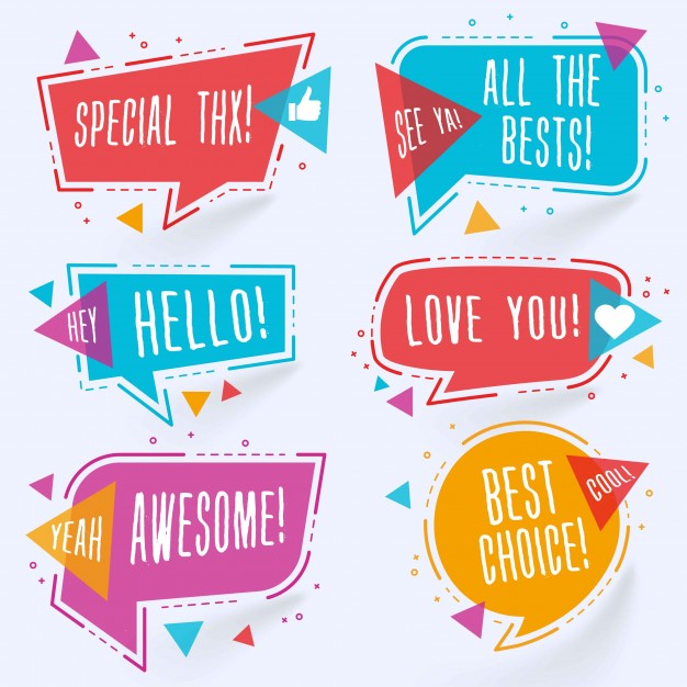 birthday sticker template ; modern-colorful-chat-bubbles_1045-766