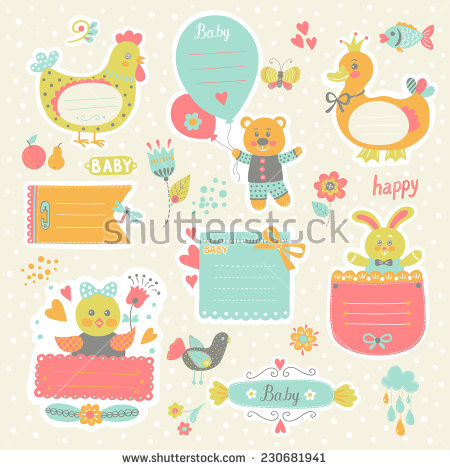 birthday sticker template ; stock-vector-scrapbook-template-sticker-label-set-of-cute-frames-and-kids-icon-graphic-elements-for-230681941
