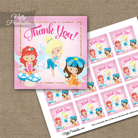 birthday thank you tags template ; FAIRY1BTag