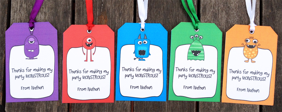 birthday thank you tags template ; MONSTER-thank-you-tag