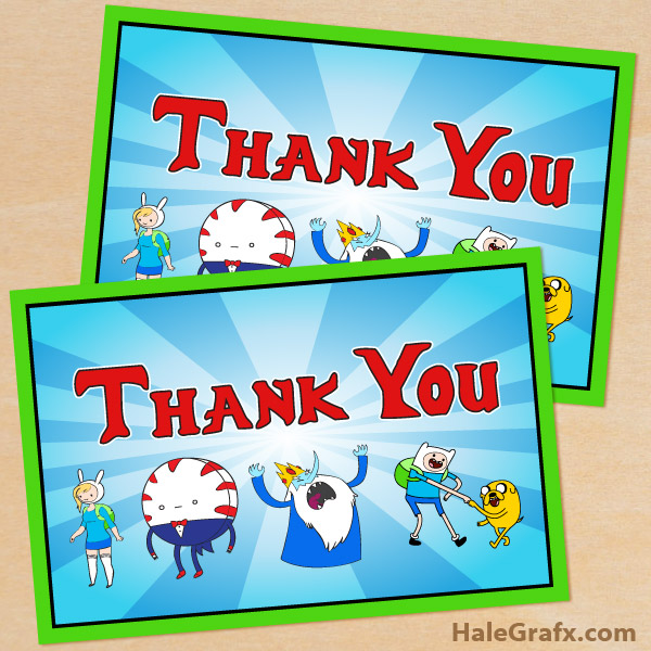 birthday thank you tags template ; adventure-time-thank-you