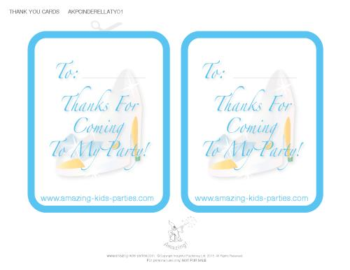birthday thank you tags template ; cinderella-ty01