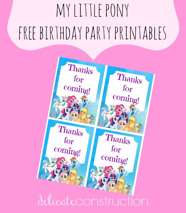 birthday thank you tags template ; my-little-pony-4