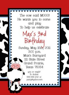 birthday theme invitation ; 0b72f8e6fcec38c6146e1e6bbefae205--cow-birthday-parties-farm-birthday