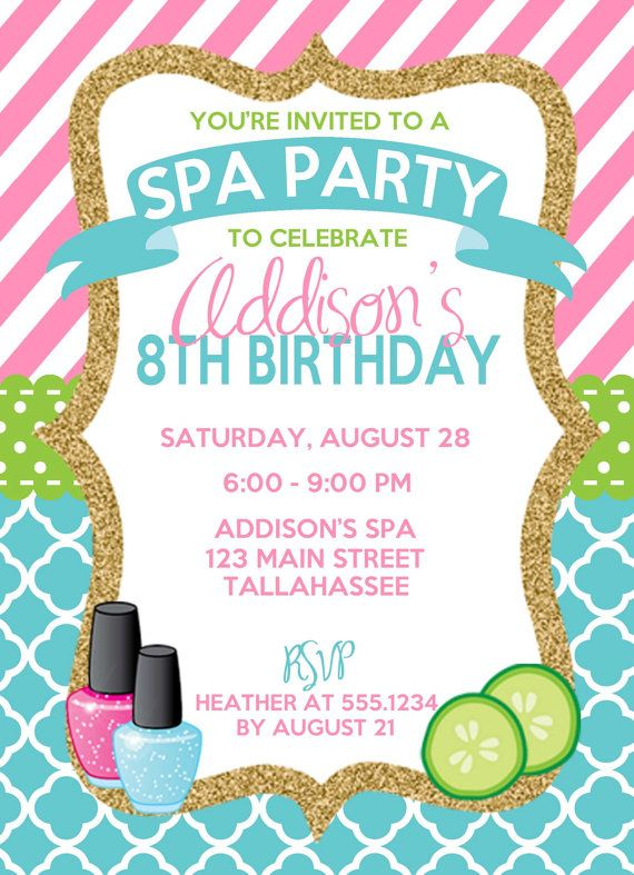 birthday theme invitation ; 917a2f5fffb7fa3e96ae3cf3a4b713eb--spa-party-invitations-kids-spa