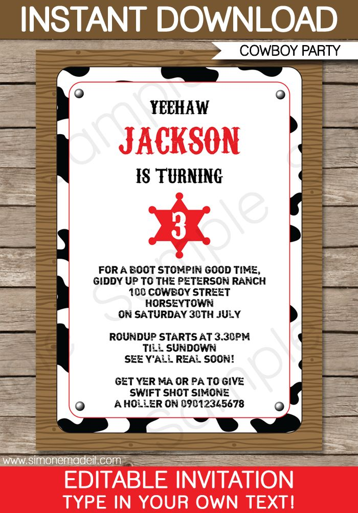 birthday theme invitation ; 9380a23aadf07c6102de725a41b72457--cowboy-party-invitations-invitation-birthday