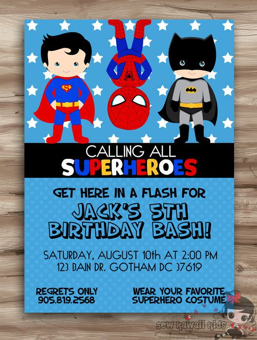birthday theme invitation ; superhero-birthday-party-invitations-combined-with-your-creativity-will-make-this-looks-awesome-1
