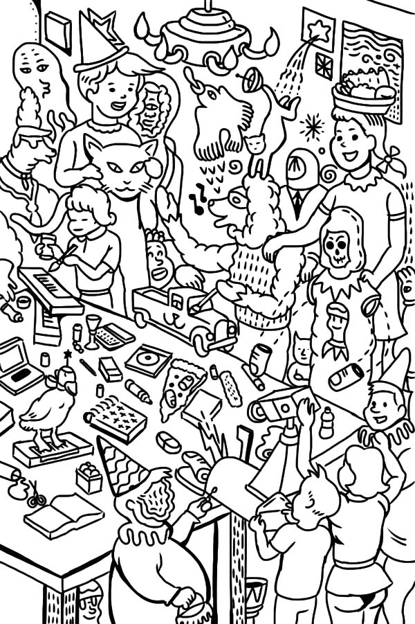 birthday themed coloring pages ; Birthday-Party-Colouring-Page
