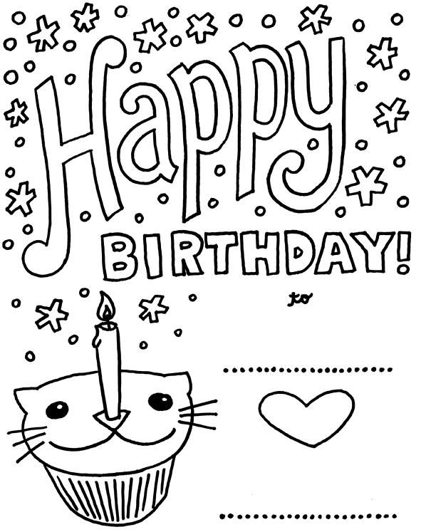 birthday themed coloring pages ; nobby-design-ideas-coloring-pages-birthday-cards-birthday-card-with-pictures-cat-cupcake-coloring-pages