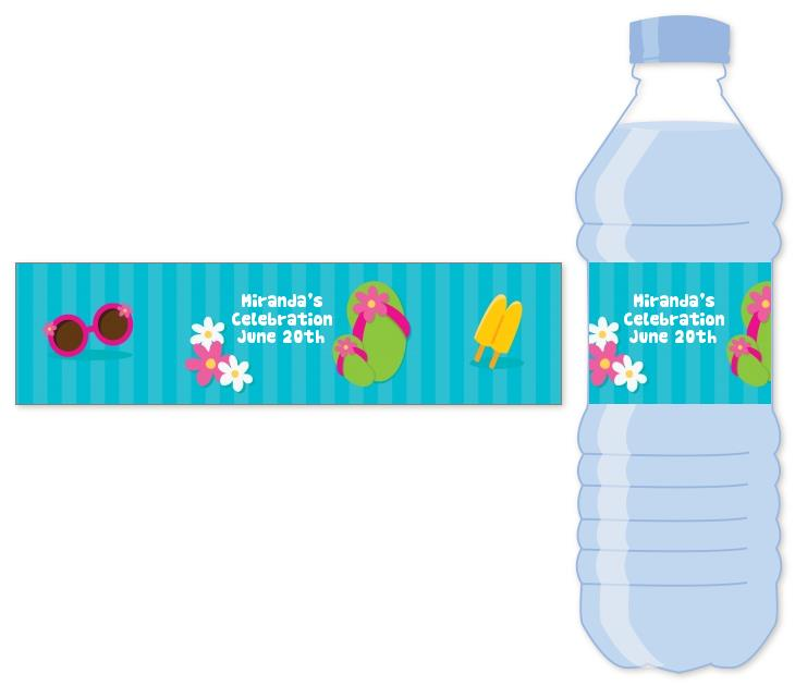 birthday water bottle labels ; flip_flops_girl_pool_party_water_bottle_label