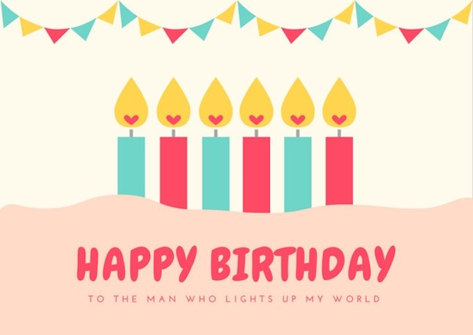birthday wishes card design ; Heart-Candles-Husband-Birthday-Card
