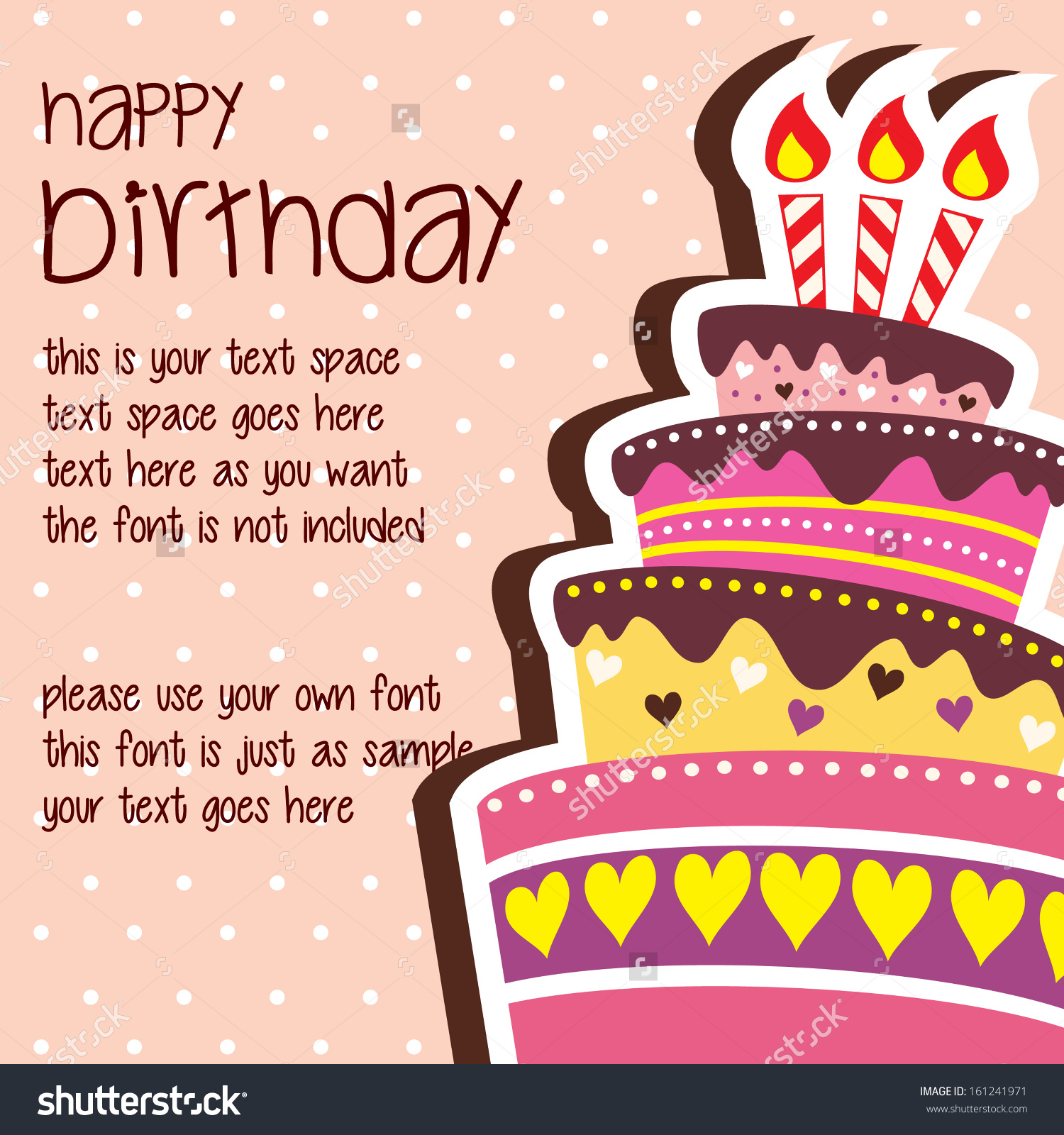 birthday wishes card design ; save-to-a-lightbox-layers-cake-design-image-layout-with-poem-and-friendly-words-pink-theme-happy-birthday-card-template