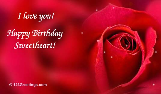 birthday wishes card for girlfriend ; romantic-birthday-cards-for-her-you-are-the-love-of-my-life-a-beautiful-rose-and-a-romantic-birthdays-message-red-background