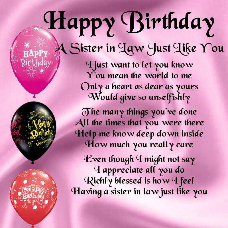 birthday wishes for sister in law poem ; 306c737e1bab01bccd50af7ca0ef5068