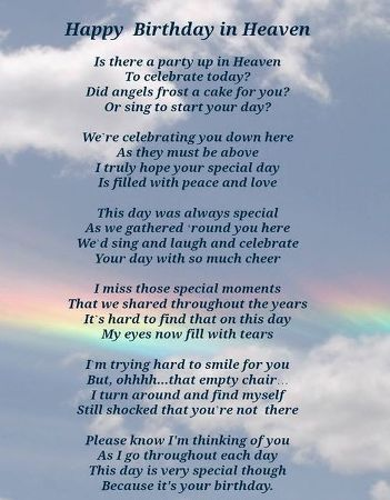 birthday wishes for someone in heaven poem ; a1bb9c480bfe42300f588e5bdc035683