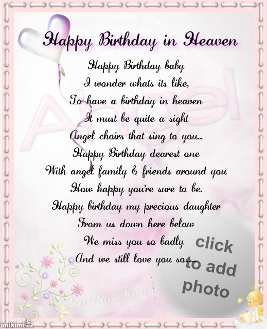 birthday wishes from heaven poem ; 34d6df275e65919267185662f787b561
